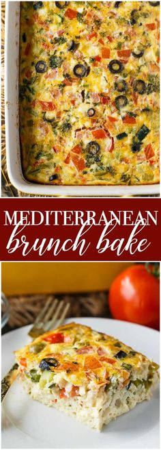 Mediterranean Brunch Bake - Save yourself time and do all the prep the night before. You'll love how much flavour is packed into this holiday breakfast/brunch recipe! and brunch Mediterranean Breakfast, Mediterranean Diet Meal Plan, Mediterranean Dishes, Mediterranean Vegetarian Recipes, Vegetarian Brunch Recipes, Vegetarian Breakfast Casserole, Baked Breakfast Recipes, Breakfast And Brunch, Brunch Food