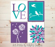 Purple Turquoise Wall Decor-Modern Nursery Decor-Set of 4 Art Prints-Floral Burst Dandelion Birds on Branch-Girl Nursery-Girls Room-0847
