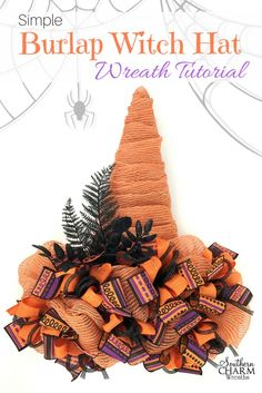 Simple Burlap Witch Hat Wreath Tutorial. Turn an easel into a witch hat wreath.