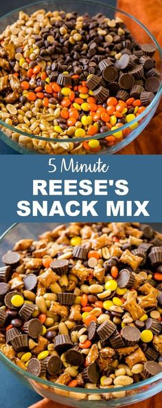 Need a last minute snack recipe for a holiday party? Us too, so we are taking this easy 5 Minute Reese's Snack Mix with pretzels, peanuts, chocolate and peanut butter chips! easy snacks 5 Minute Reese's Snack Mix - Oh Sweet Basil Snack Mix Recipes, Yummy Snacks, Fall Recipes, Holiday Recipes, Dessert Recipes, Yummy Food, Trail Mix Recipes, Party Food Recipes, Christmas Party Snacks