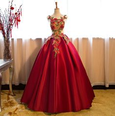 Ball Gown Women Floral Formal Party Evening Dress Cocktail Prom Wedding Dress in Clothing, Shoes & Accessories, Women's Clothing, Dresses Ball Gown Dresses, Prom Dresses, African Traditional Wedding Dress, Formal Gowns, Dress Formal, Gowns Of Elegance, African Attire, Embroidery Dress, Party Gowns