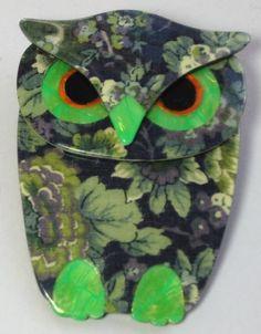 LEA STEIN OWL BROOCH - FABRIC DECORATION
