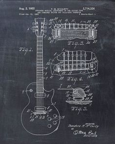 Patent Print of an Electric Guitar Patent Art by VisualDesign, $6.95