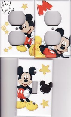 MICKEY MOUSE Light Switch Plate Cover 3 Outlets by HitTheLights
