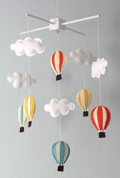 www.mobauk.com This Balloon and Clouds Baby Mobile would make a great accessory to go along side your Raspberry, Cornflower, Dove Grey or Linen Moba.