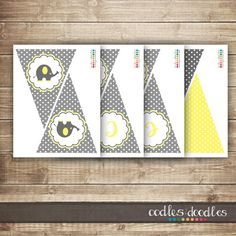 Elephant Baby Shower / Chevron and Polka Dots / Yellow & by OandD