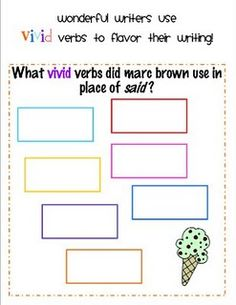 Worksheet Vivid Verbs Worksheet vivid verb replacement story speech therapy worksheets pinterest