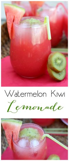 The Perfect Watermelon Lemonade , Watermelon Kiwi Lemonade - perfect summer drink! Also includes an adult version ; Fruit Drinks, Smoothie Drinks, Non Alcoholic Drinks, Healthy Drinks, Smoothie Recipes, Cocktails, Party Drinks, Smoothie Cleanse, Juice Recipes