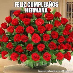 FELIZ CUMPLEAÑOS HERMANA - Meme flores
