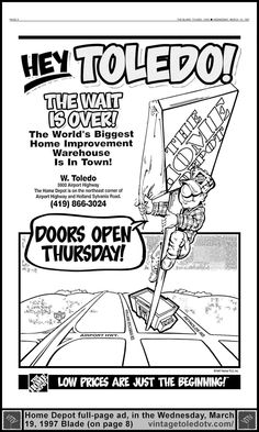 Vintage Toledo TV - Other Vintage Print Ads - The Home Deport Toledo Grand Opening (Wed 3/19/97 full-page ad)