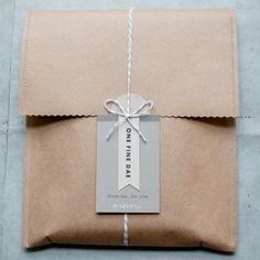 One Fine Dae packaging and branding (inspiration for gift wrap - brown paper bag, string with notecard) Paper Packaging, Pretty Packaging, Brand Packaging, Gift Packaging, Packaging Design, Packaging Ideas, Simple Packaging, Cookie Packaging, Product Packaging