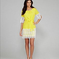 Gianni Bini yellow and white lace dress, Size XS Size XS  Zips up the back  Polyester   Small spot on right sleeve, barely noticeable.  Shown in last pic.   Retail $139 Gianni Bini Dresses Mini