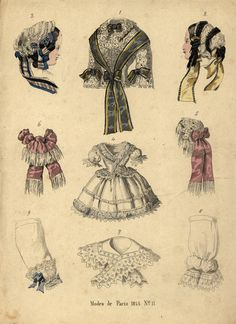 This 1855 fashion plate of accessories demonstrates the elaboration of decoration and detail fashionable in the period--a trend my protagonist Clare Hetton would have resisted.