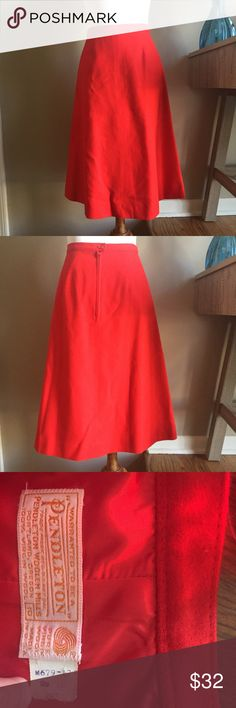 Vintage Pendleton Cherry Red A Line Skirt Vintage Pendleton Woolen Mills cherry red A line skirt. A classic, stylish pop of color. The waist laying flat doubled measures approximately 26 inches. Pendleton Skirts A-Line or Full