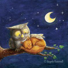 """ Adda passà a nuttata. Good Night Gif, Good Night Moon, Happy Birthday Video, The Pussycat, Night Wishes, Owl Art, Stars And Moon, Animal Pictures, Fantasy Art"
