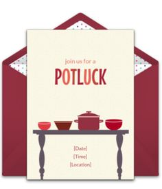 Free Thanksgiving invitations. We love this Potluck Invite you can personalize and send via email.