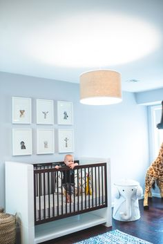 #nursery, #animals, #crib, #gallery-wall, #paint-color, #safari