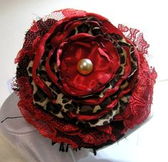 FABRIC ROSE flower  BROOCH hand made red leopard by rankaswedding
