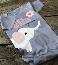 Personalized Baby Onesie, Elephant Polka Dot, Custom Infant Onesies