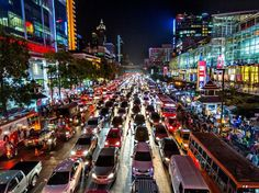 cool Picture of traffic on a busy city road in Bangkok, Thailand, at night... Check more at http://www.discounthotel-worldwide.com/travel/picture-of-traffic-on-a-busy-city-road-in-bangkok-thailand-at-night/