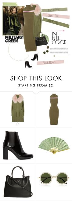 """""""No 325:Attention! Go Army Green"""" by lovepastel ❤ liked on Polyvore featuring Garnier, Mr & Mrs Italy, SUNO New York, Yves Saint Laurent, Prada, The Row, Unitex International and Gogreen"""