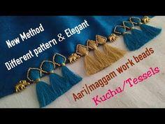 Totally new method kuchu using aari work beads & antique elephants /Totally new design I MCBMcb Saree Tassels Designs, Saree Kuchu Designs, Blouse Neck Designs, Henna Designs, Tattoo Designs, Crochet Stitches Patterns, Crochet Designs, Saree Border, Paper Crafts Origami