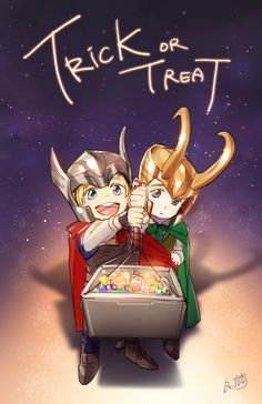 Happy Halloween from Asgard! Thor and Loki go trick-or-treating.