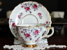 Enesco Footed Teacup and Saucer Pink Roses on by TheVintageTeacup