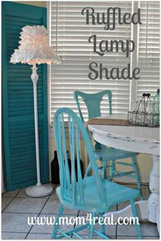 This is a tutorial for the ruffled lampshade, but I actually pinned this because I have a corner that would be perfect for a shutter just like this with a tall lamp.