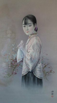 Hu Boxiang (1896-1989), : Woman with Handkerchief, Original work, for British American Tobacco Company, Watercolour Signed lower right.