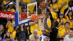 This picture right here is where Lebron James blocked Andre Iguodala in game 7 of the finals. The Cleveland Cavaliers won that series. Nba Finals 2016, Nba Finals Game, Usain Bolt Facts, Lebron James, Nba Championships, Andre Iguodala, Game 7, Nba Playoffs, Dating
