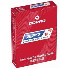 De enige echte European Poker tour plastic poker kaarten.  Krijg het echte EPT gevoel in jouw homegame door met deze topkwaliteit pokerkaarten te spelen.  Verkrijgbaar met blauwe of rode achterzijde.