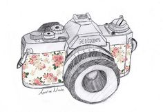 Gorgeous retro illustration of a floral Nikon camera