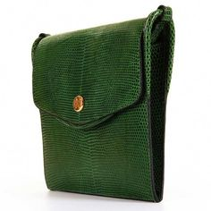 1af31be14e9 VERY RARE Hermes Vintage Green Lizard Shoulder Bag with  Bronze Dore  Clasp  4 Hermes