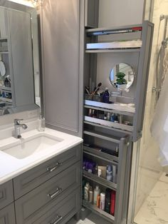 Great option for makeup storage in bathroom cabinetry! Great option for makeup storage in bathroom cabinetry! Bathroom Cabinetry, Bathroom Renos, Bathroom Mirrors, Wood Bathroom, Bathroom Cabinet Storage, Makeup Storage In Bathroom, Storage Ideas For Bathroom, Narrow Bathroom Cabinet, Bathroom With Makeup Vanity