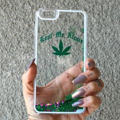 Leaf Me Alone Glitter iPhone Case from www.shopstaywild.com