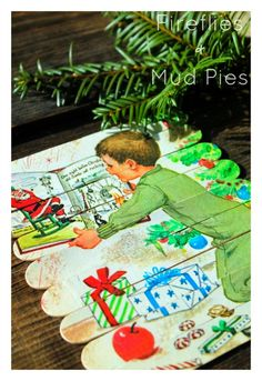 Use wide wooden popsicle sticks, Mod Podge, and a vintage book to create a one-of-a-kind handmade holiday gift! | Fireflies and Mud Pies