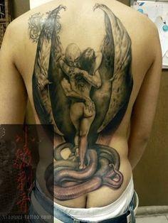Sex angel devil tattoo