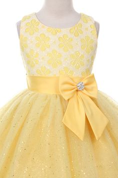 Rain Kids Lace Bow Sash Sparkly Tulle Flower Girl Dress 2-14 (Yellow) – Brightly Kids