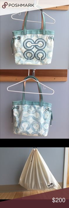 Coach Bag Great for the pool or travel!  Comes with protective Coach bag.  Used one time. Authentic. Coach Bags Totes