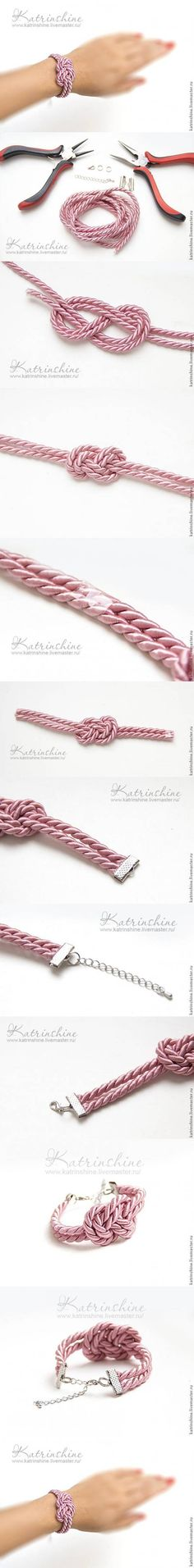 DIY Bracelet with a Knot of Silk Cord DIY Projects