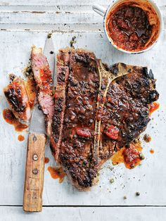 green peppercorn t-bone steaks  with smoky barbecue relish from donna hay magazine issue #85