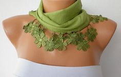 green scarf with flower trim