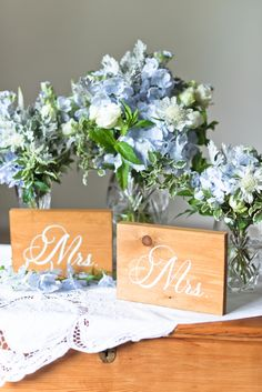 Wooden abbreviated title signs for LGBTQ wedding with two brides on Etsy #weddingsigns #bride #twobrides #loveislove #lgbtweddings #lgbtqweddings #mrsandmrs #weddingideas #wedding #etsy Wedding Bouquets, Wedding Flowers, Two Brides, Wedding Flower Inspiration, Ceremony Arch, Table Signs, Sweetheart Table, Wedding Signs, Weddingideas
