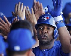 Toronto Blue Jay Edwin Encarnacion congratulated in the dugout after homer against Yanks (spring training, Baseball Photos, Baseball Cards, 29 Years Old, Spring Training, Toronto Blue Jays, New York Yankees, Espn, My Love, News