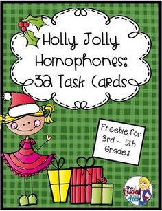 FREE 32 Holly Jolly Homophone Task Cards are Common Core aligned and will help your - grade students practice identifying various homophones and determining which one is correct. 10 pgs from The Teacher Next Door. Classroom Freebies, Classroom Fun, Classroom Activities, Holiday Classrooms, Preschool Bulletin, Therapy Activities, 4th Grade Writing, 5th Grade Reading, Fourth Grade