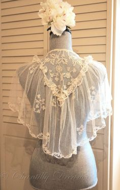 Stunning Antique Victorian Handmade Carrickmacross Bridal Lace Capelet ~ Available at http://www.chantillydreams.com/Stunning-Antique-Victorian-Handmade-Carrickmacross-Bridal-Lace-Capelet_p_1249.html