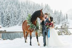 Stunning Winter Weddings horse wreath horse flowers utah wedding florist calie rose