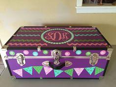 Custom summer camp trunk decorated with vinyl monogram and decals - Instagram mckenzie_point