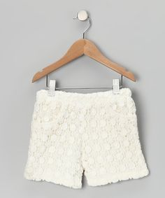 Crocheted material gives these shorts style that's here and now. Complete with pockets and a pull-on fit, they're comfortable and cool for girls who like alternatives to skirts and dresses.100% cottonMachine wash; tumble dryImported